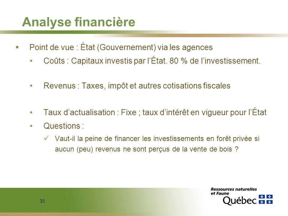 35 Analyse financière Point de vue : État (Gouvernement) via les agences Coûts : Capitaux investis par lÉtat. 80 % de linvestissement. Revenus : Taxes