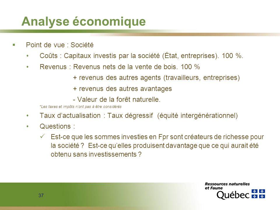 37 Analyse économique Point de vue : Société Coûts : Capitaux investis par la société (État, entreprises). 100 %. Revenus : Revenus nets de la vente d