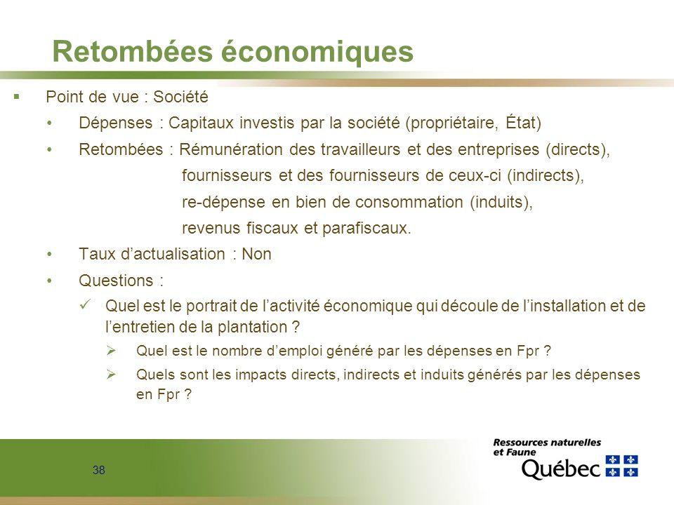 38 Retombées économiques Point de vue : Société Dépenses : Capitaux investis par la société (propriétaire, État) Retombées : Rémunération des travaill