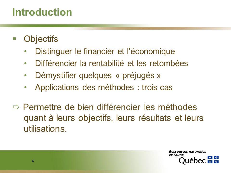 4 Introduction Objectifs Distinguer le financier et léconomique Différencier la rentabilité et les retombées Démystifier quelques « préjugés » Applica
