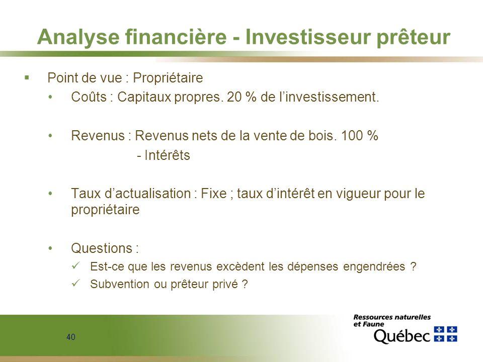 40 Analyse financière - Investisseur prêteur Point de vue : Propriétaire Coûts : Capitaux propres. 20 % de linvestissement. Revenus : Revenus nets de