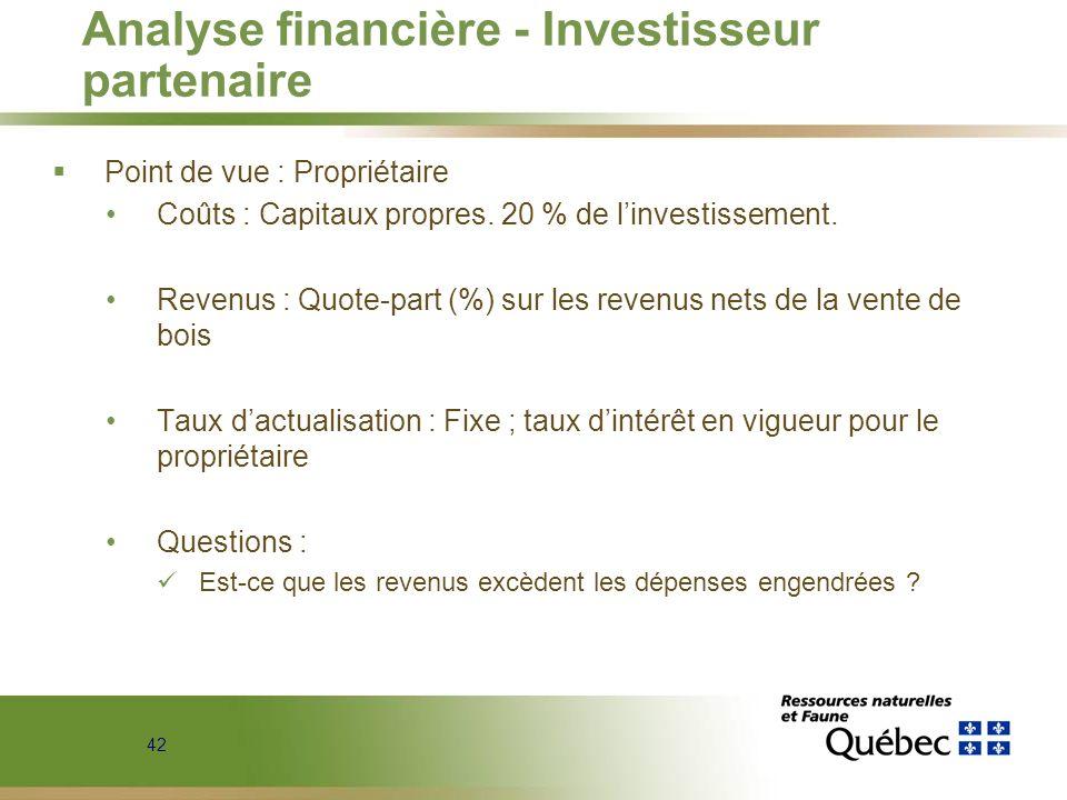42 Analyse financière - Investisseur partenaire Point de vue : Propriétaire Coûts : Capitaux propres. 20 % de linvestissement. Revenus : Quote-part (%