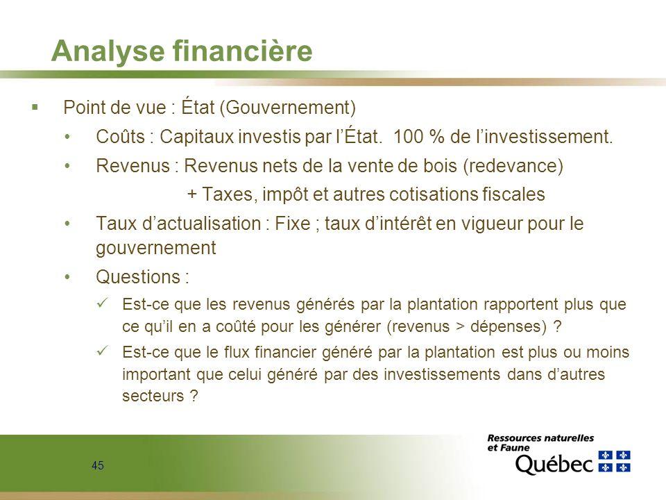45 Analyse financière Point de vue : État (Gouvernement) Coûts : Capitaux investis par lÉtat. 100 % de linvestissement. Revenus : Revenus nets de la v