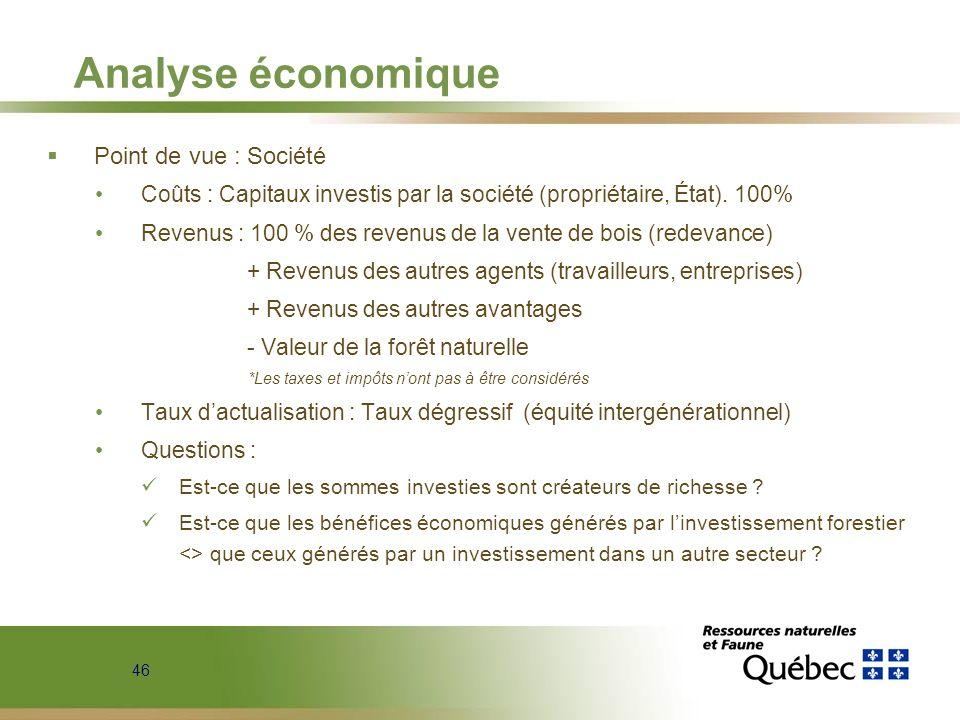 46 Analyse économique Point de vue : Société Coûts : Capitaux investis par la société (propriétaire, État). 100% Revenus : 100 % des revenus de la ven
