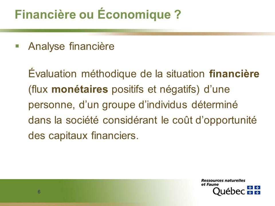 6 Financière ou Économique ? Analyse financière Évaluation méthodique de la situation financière (flux monétaires positifs et négatifs) dune personne,