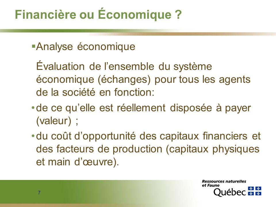 7 Financière ou Économique ? Analyse économique Évaluation de lensemble du système économique (échanges) pour tous les agents de la société en fonctio