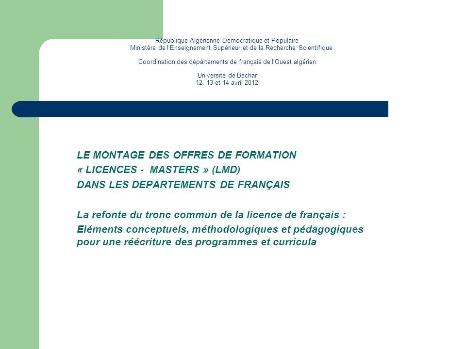 République Algérienne Démocratique et Populaire Ministère de lEnseignement Supérieur et de la Recherche Scientifique Coordination des départements de