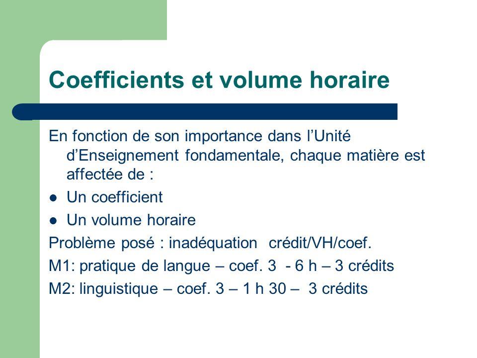 Coefficients et volume horaire En fonction de son importance dans lUnité dEnseignement fondamentale, chaque matière est affectée de : Un coefficient Un volume horaire Problème posé : inadéquation crédit/VH/coef.
