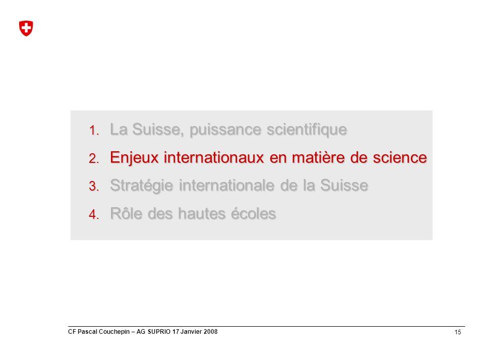 15 CF Pascal Couchepin – AG SUPRIO 17 Janvier 2008 1. La Suisse, puissance scientifique 2. Enjeux internationaux en matière de science 3. Stratégie in