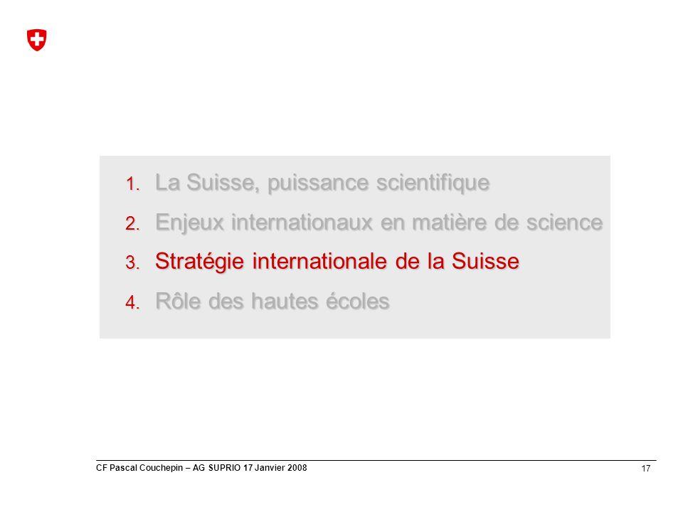 17 CF Pascal Couchepin – AG SUPRIO 17 Janvier 2008 1. La Suisse, puissance scientifique 2. Enjeux internationaux en matière de science 3. Stratégie in