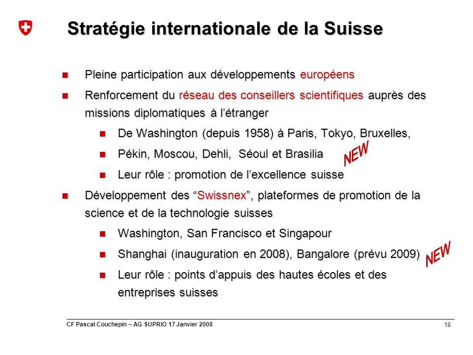 18 CF Pascal Couchepin – AG SUPRIO 17 Janvier 2008 Stratégie internationale de la Suisse Pleine participation aux développements européens Pleine part