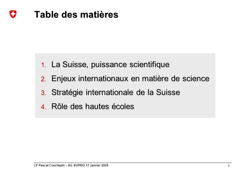 2 CF Pascal Couchepin – AG SUPRIO 17 Janvier 2008 Table des matières 1. La Suisse, puissance scientifique 2. Enjeux internationaux en matière de scien