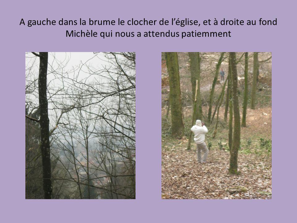 A gauche dans la brume le clocher de léglise, et à droite au fond Michèle qui nous a attendus patiemment