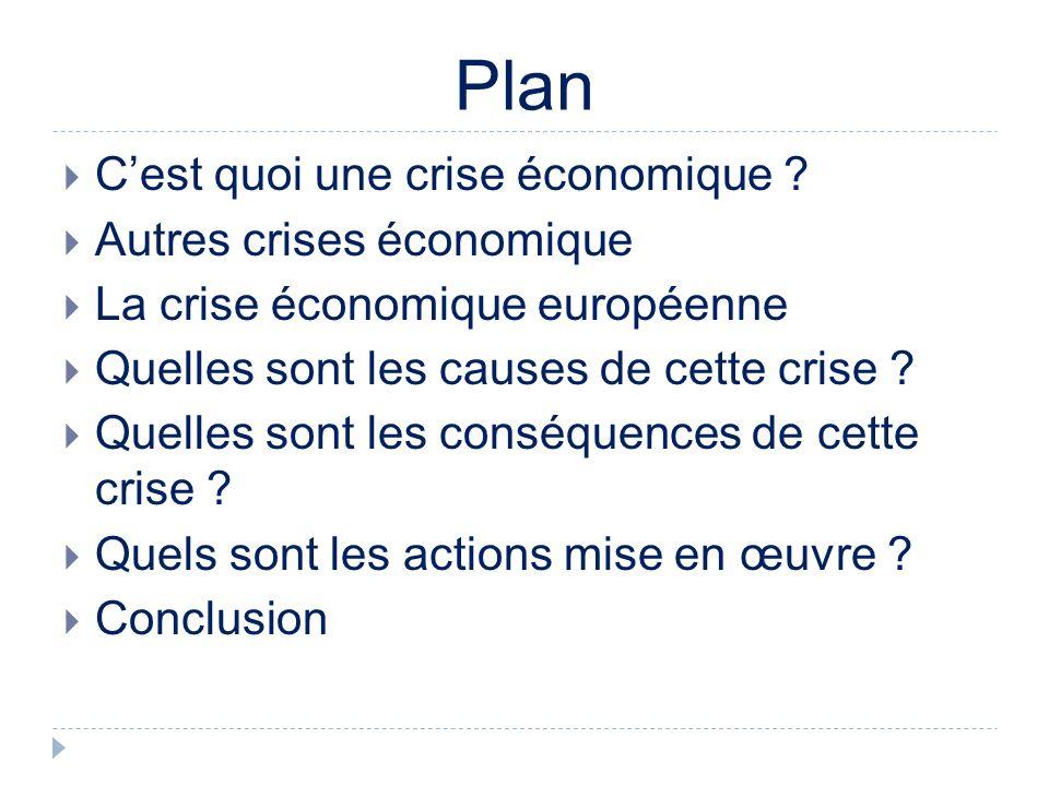 Plan Cest quoi une crise économique .