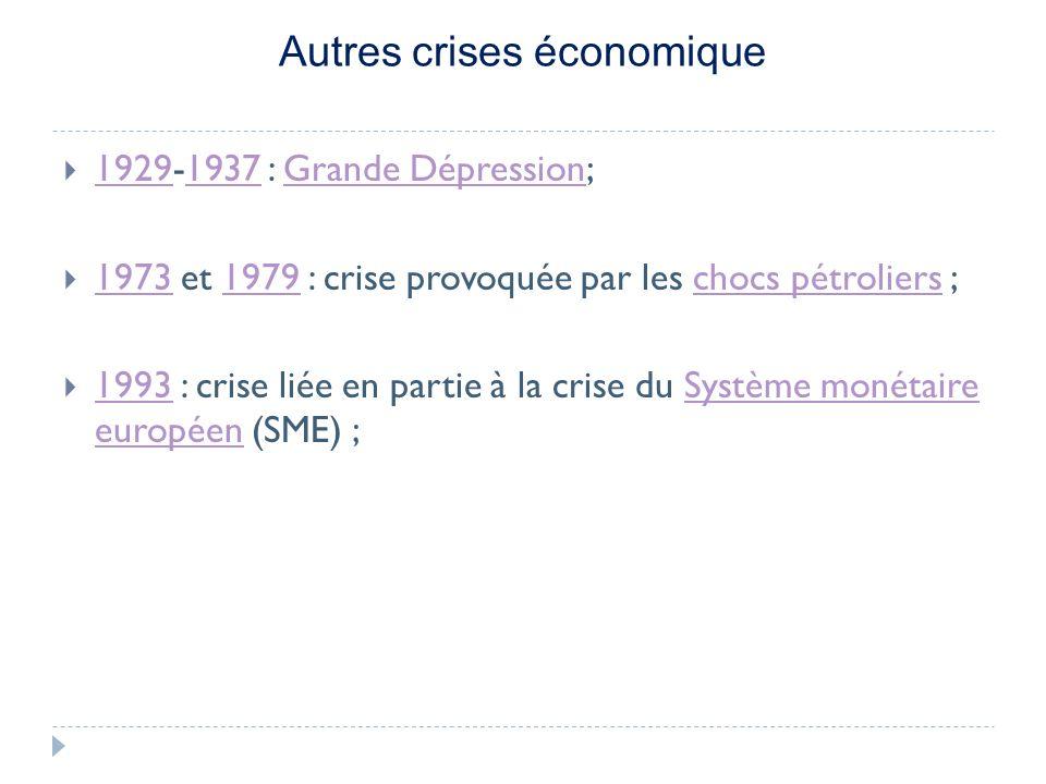 Autres crises économique 1929-1937 : Grande Dépression; 19291937Grande Dépression 1973 et 1979 : crise provoquée par les chocs pétroliers ; 19731979chocs pétroliers 1993 : crise liée en partie à la crise du Système monétaire européen (SME) ; 1993Système monétaire européen