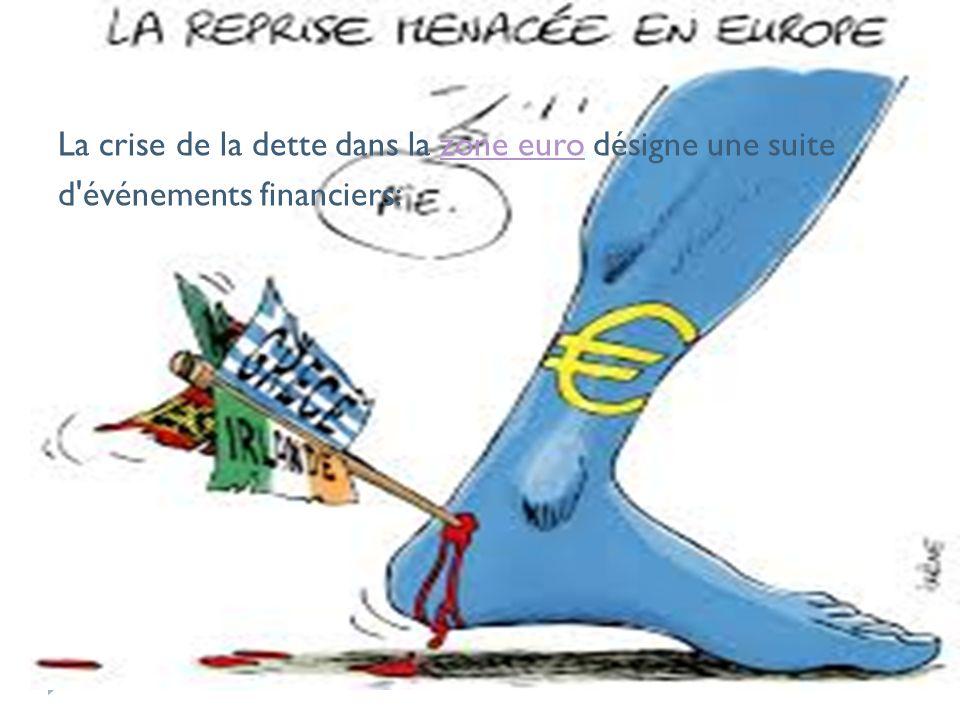 La crise de la dette dans la zone euro désigne une suitezone euro d événements financiers: