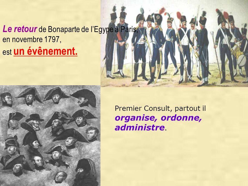 Premier Consult, partout il organise, ordonne, administre. Le retour de Bonaparte de l Egype à Paris, en novembre 1797, est un évênement.