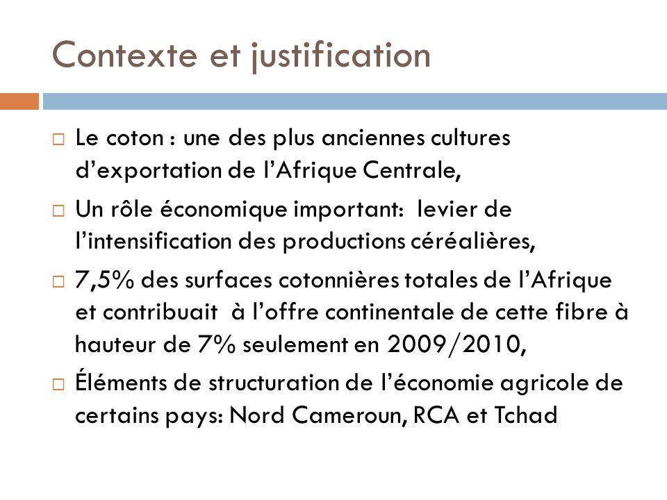 Contexte et justification Le coton : une des plus anciennes cultures dexportation de lAfrique Centrale, Un rôle économique important: levier de linten