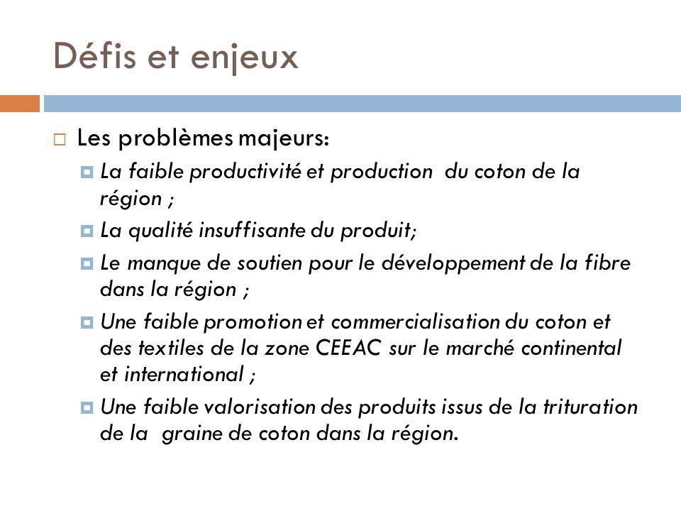 Défis et enjeux Les problèmes majeurs: La faible productivité et production du coton de la région ; La qualité insuffisante du produit; Le manque de s