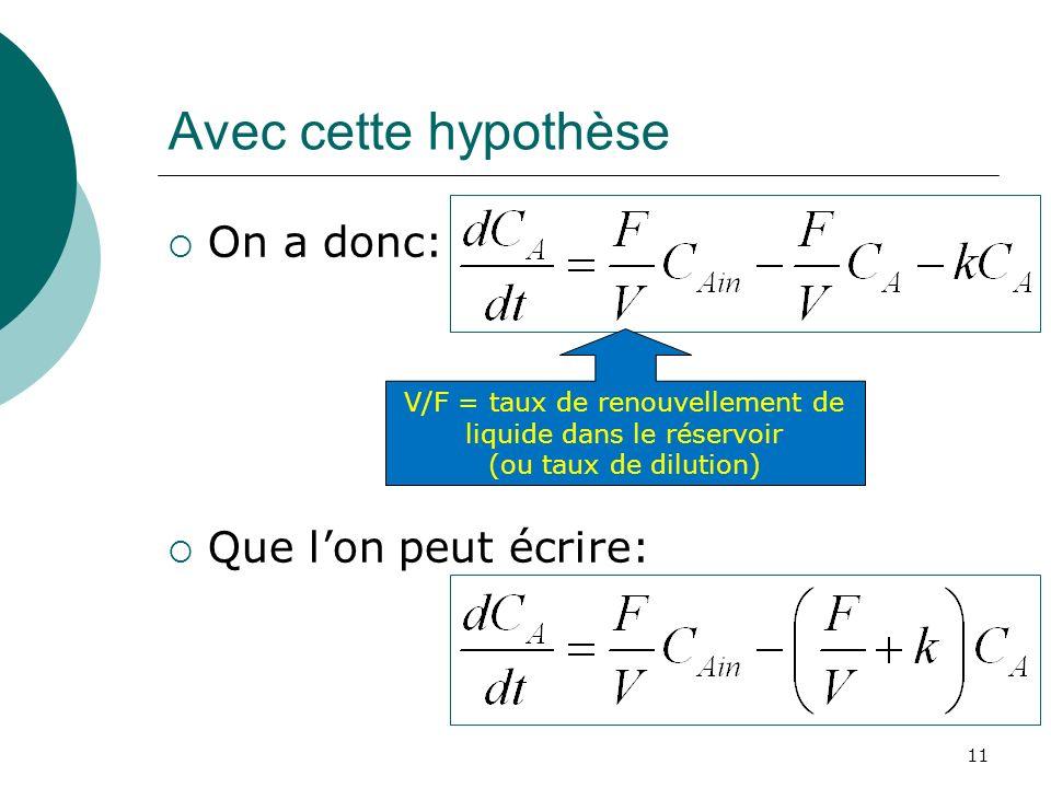 Avec cette hypothèse On a donc: Que lon peut écrire: V/F = taux de renouvellement de liquide dans le réservoir (ou taux de dilution) 11