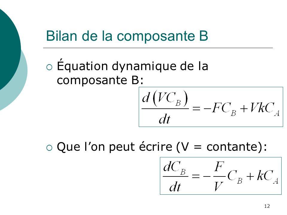 Bilan de la composante B Équation dynamique de la composante B: Que lon peut écrire (V = contante): 12