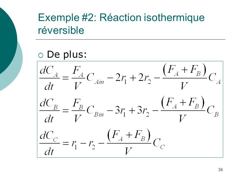 Exemple #2: Réaction isothermique réversible De plus: 36