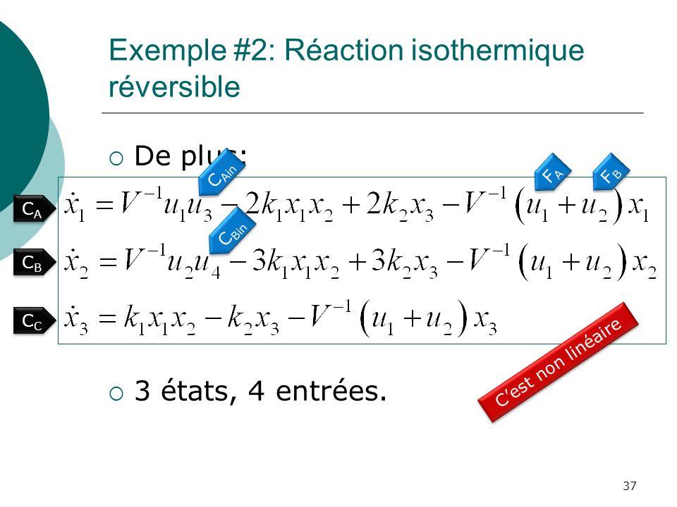 Exemple #2: Réaction isothermique réversible De plus: 3 états, 4 entrées. 37 CACA CACA FAFA FAFA FBFB FBFB C Ain C Bin CBCB CBCB CC Cest non linéaire