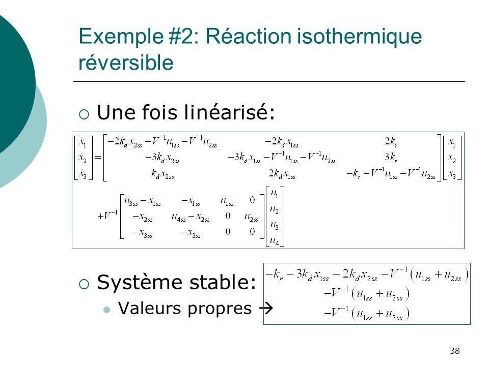 Exemple #2: Réaction isothermique réversible Une fois linéarisé: Système stable: Valeurs propres 38