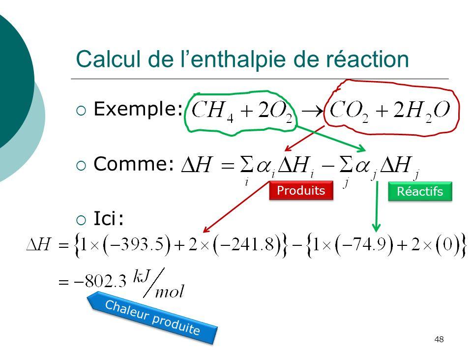 Calcul de lenthalpie de réaction Exemple: Comme: Ici: 48 Réactifs Produits Chaleur produite