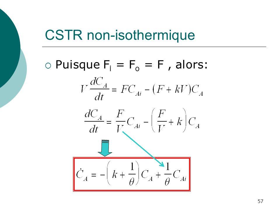CSTR non-isothermique Puisque F i = F o = F, alors: 57
