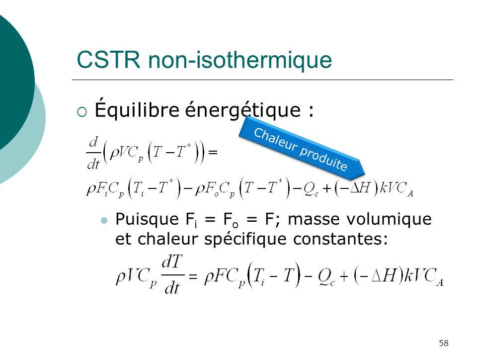 CSTR non-isothermique Équilibre énergétique : Puisque F i = F o = F; masse volumique et chaleur spécifique constantes: 58 Chaleur produite