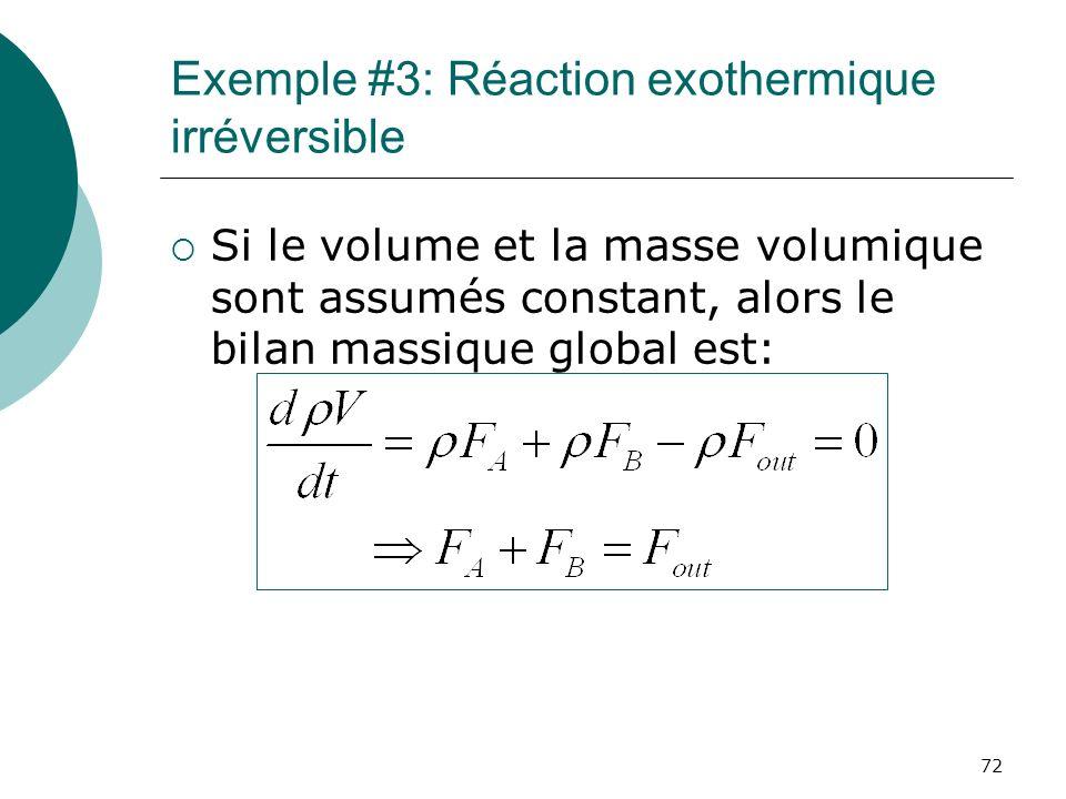 Exemple #3: Réaction exothermique irréversible Si le volume et la masse volumique sont assumés constant, alors le bilan massique global est: 72