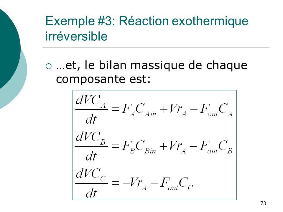 Exemple #3: Réaction exothermique irréversible …et, le bilan massique de chaque composante est: 73