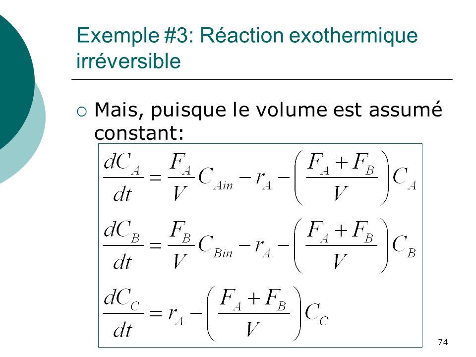Exemple #3: Réaction exothermique irréversible Mais, puisque le volume est assumé constant: 74