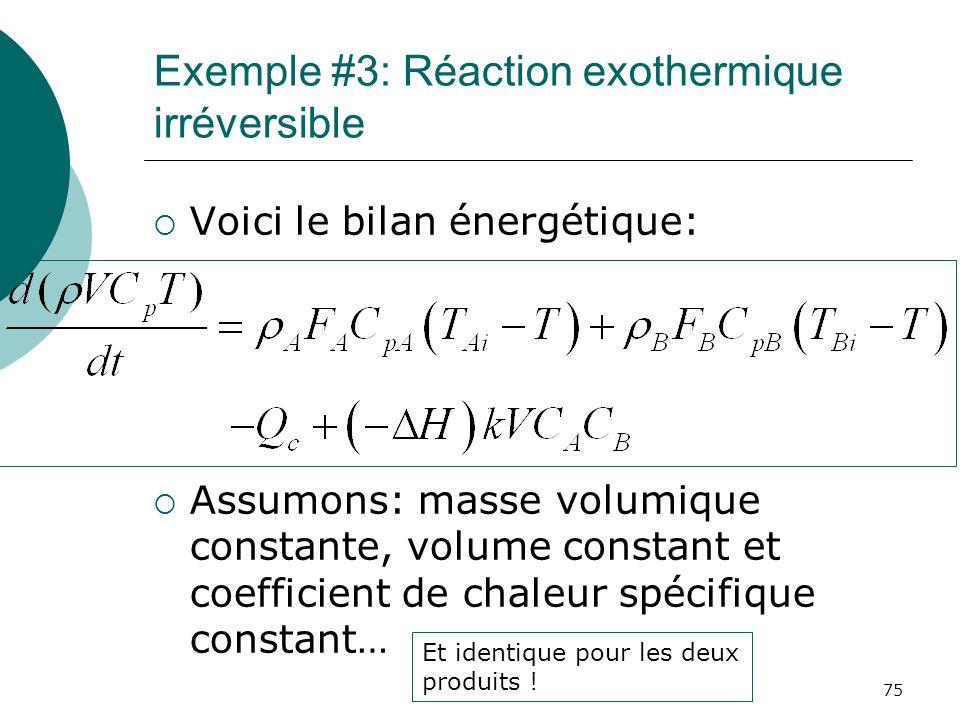 Exemple #3: Réaction exothermique irréversible Voici le bilan énergétique: Assumons: masse volumique constante, volume constant et coefficient de chal