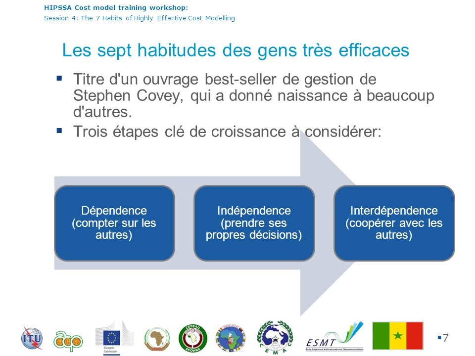 HIPSSA Cost model training workshop: Session 4: The 7 Habits of Highly Effective Cost Modelling 8 Quelles sont les sept habitudes.