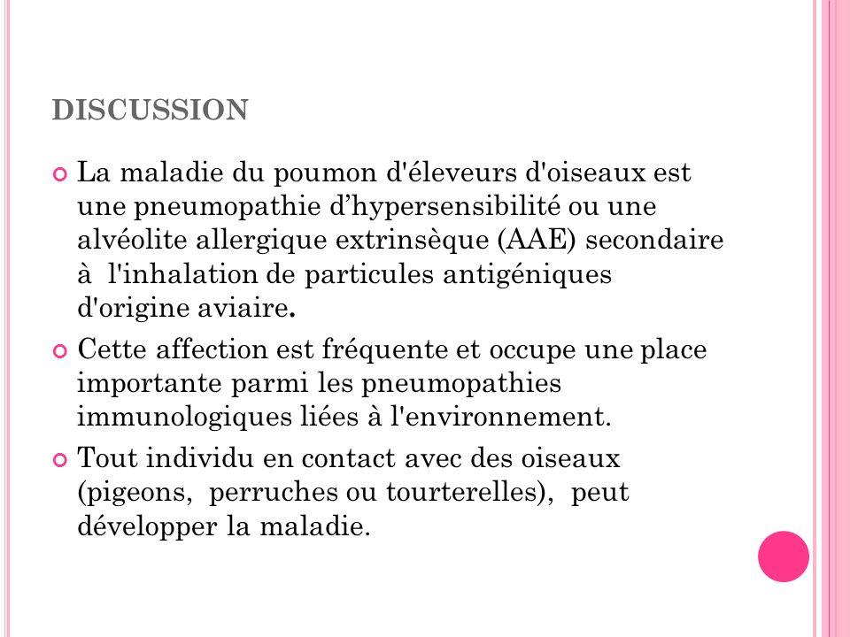 La maladie du poumon d'éleveurs d'oiseaux est une pneumopathie dhypersensibilité ou une alvéolite allergique extrinsèque (AAE) secondaire à l'inhalati