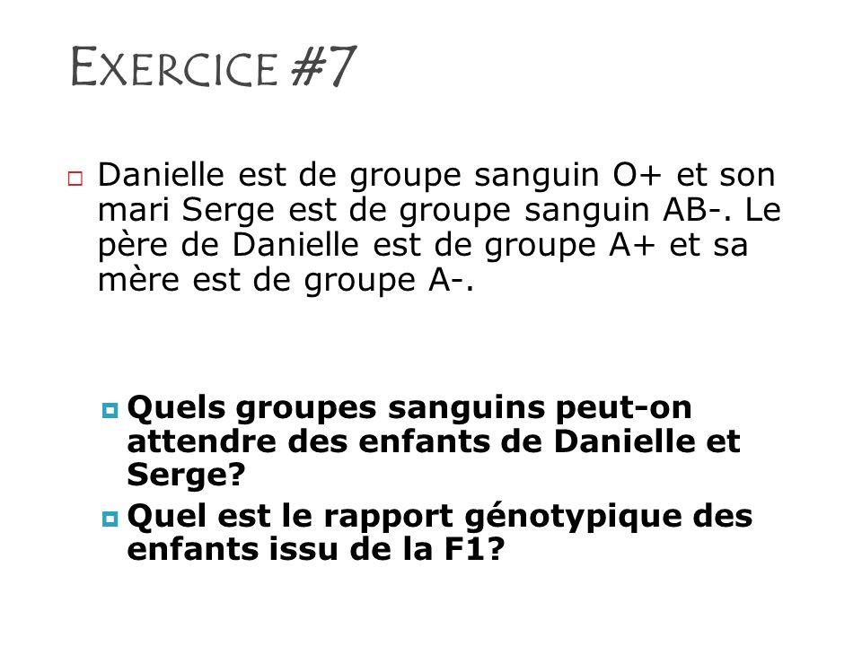 E XERCICE #7 Danielle est de groupe sanguin O+ et son mari Serge est de groupe sanguin AB-. Le père de Danielle est de groupe A+ et sa mère est de gro