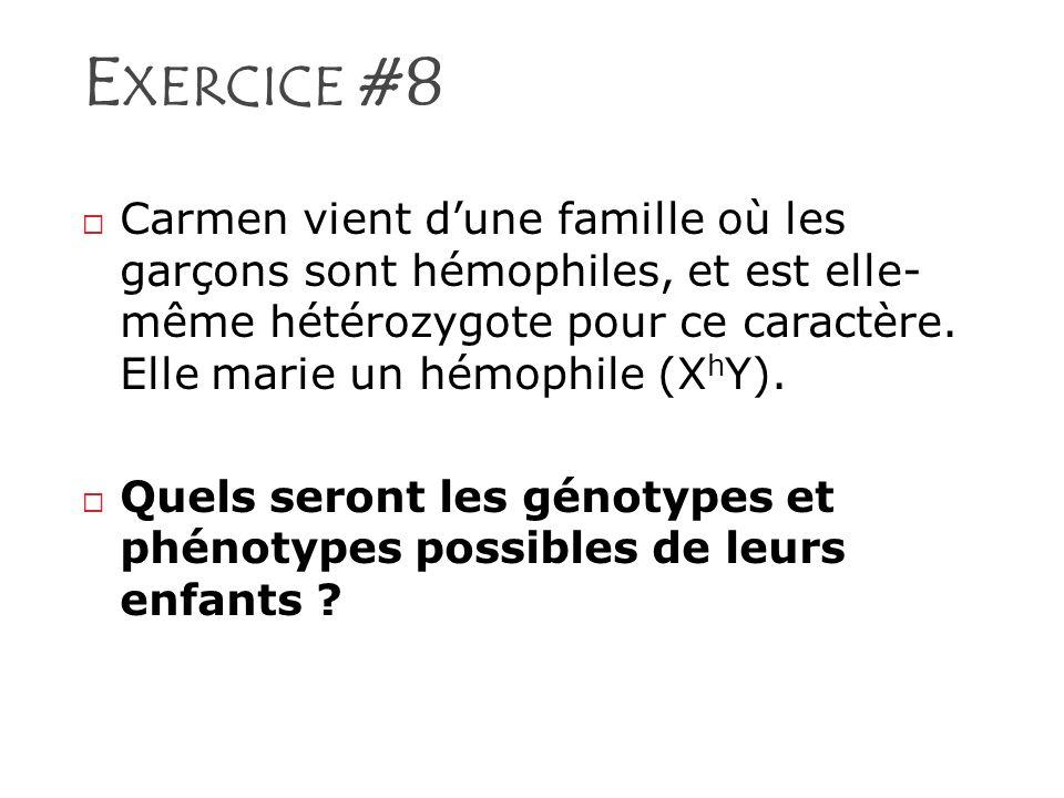 E XERCICE #8 Carmen vient dune famille où les garçons sont hémophiles, et est elle- même hétérozygote pour ce caractère. Elle marie un hémophile (X h