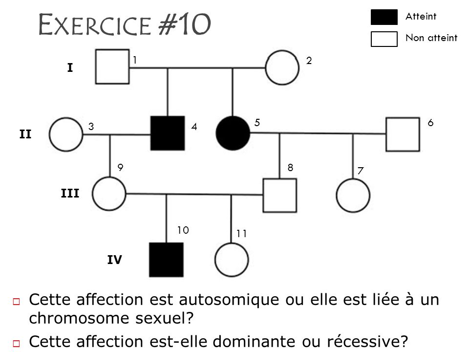 E XERCICE #10 Cette affection est autosomique ou elle est liée à un chromosome sexuel? Cette affection est-elle dominante ou récessive? I II III IV 1