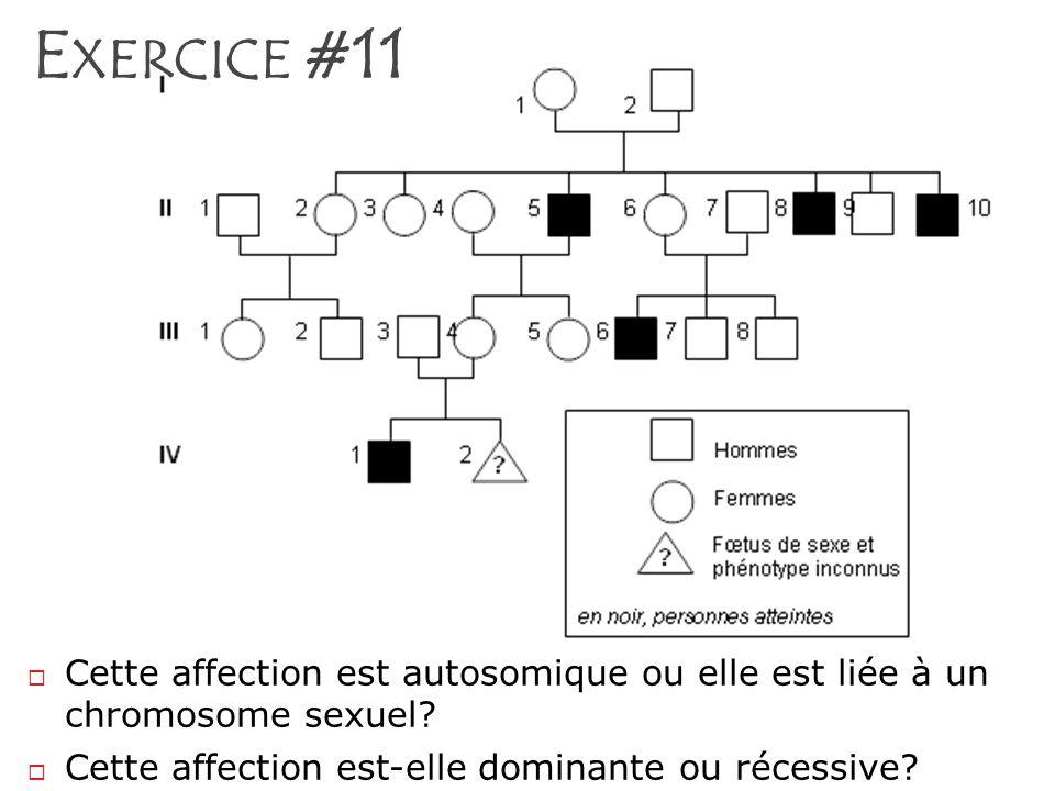 E XERCICE #11 Cette affection est autosomique ou elle est liée à un chromosome sexuel? Cette affection est-elle dominante ou récessive?