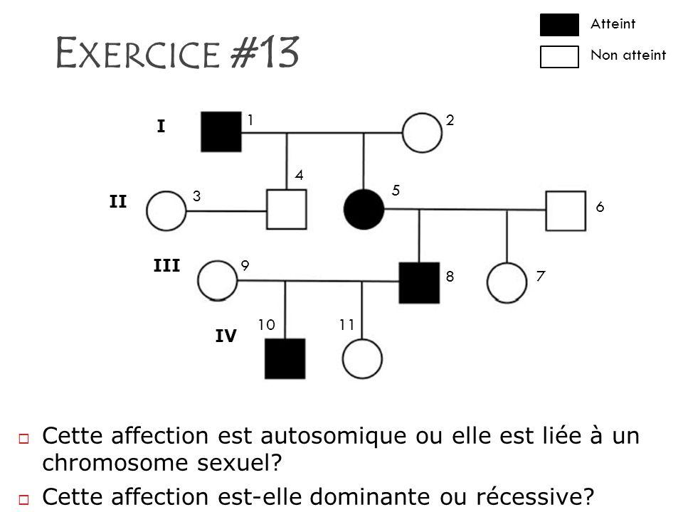 E XERCICE #13 Atteint Non atteint I II III IV 12 3 4 5 6 78 9 1011 Cette affection est autosomique ou elle est liée à un chromosome sexuel? Cette affe