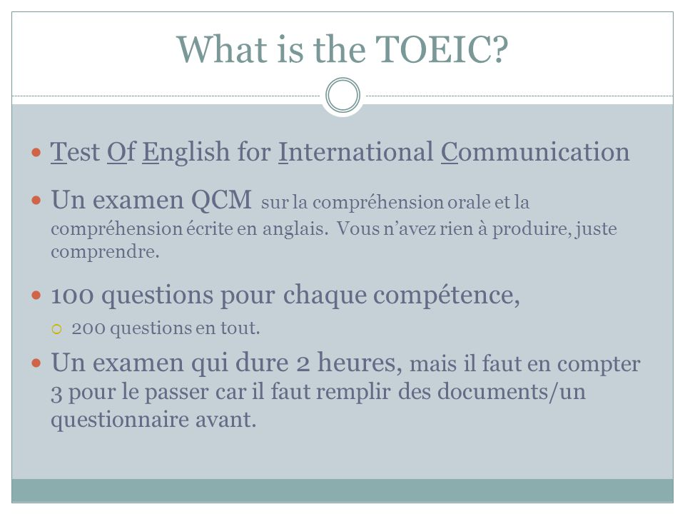 What is the TOEIC.
