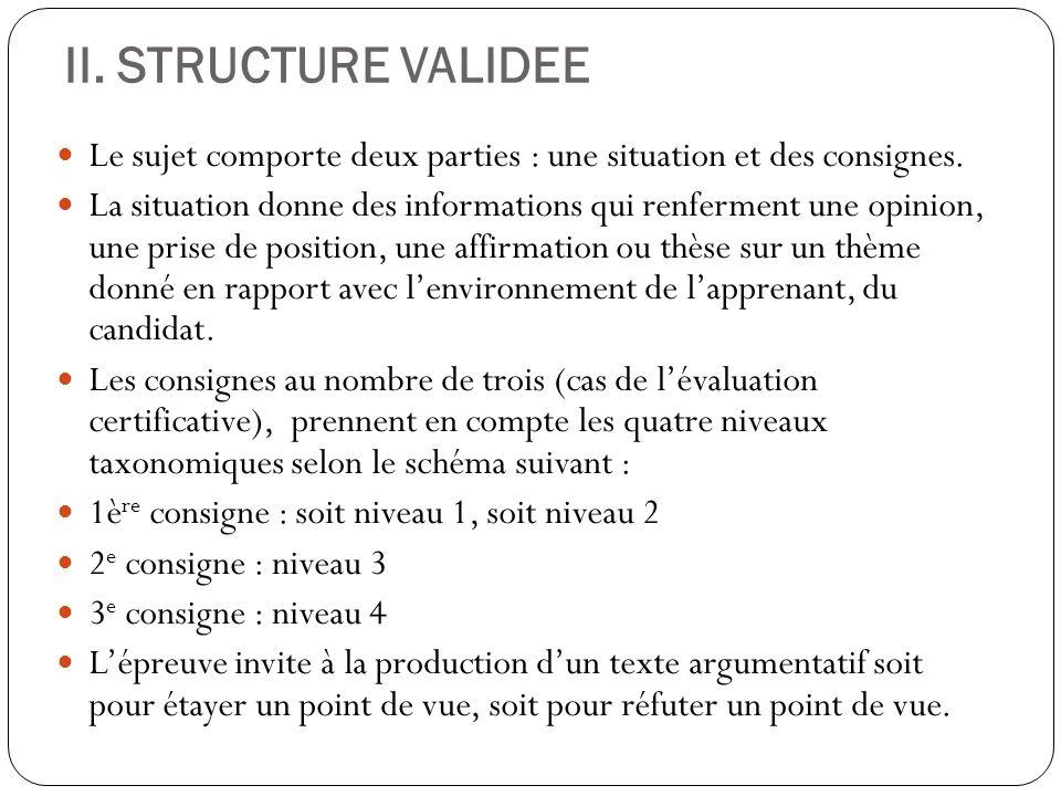 II. STRUCTURE VALIDEE Le sujet comporte deux parties : une situation et des consignes. La situation donne des informations qui renferment une opinion,