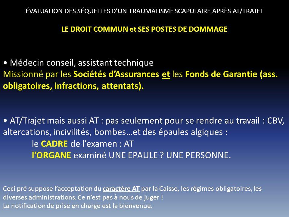 ÉVALUATION DES SÉQUELLES DUN TRAUMATISME SCAPULAIRE APRÈS AT/TRAJET TOUT DÉCRIRE : LE PERMANENT HH B H 2012