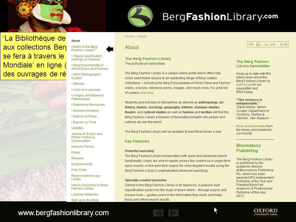 Cette présentation nest quune brève démonstration de La Bibliothèque de Mode Berg (Berg Fashion Library – BFL).