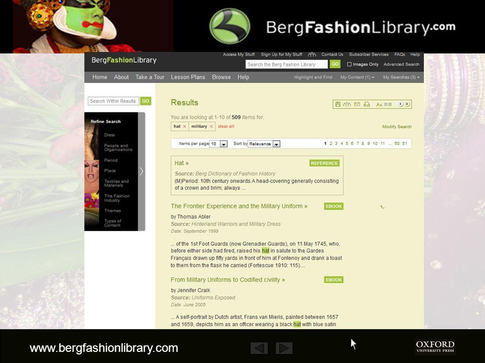 www.bergfashionlibrary.com D après les résultats, vous pouvez soit affiner la recherche en utilisant la taxonomie de la colonne à gauche......
