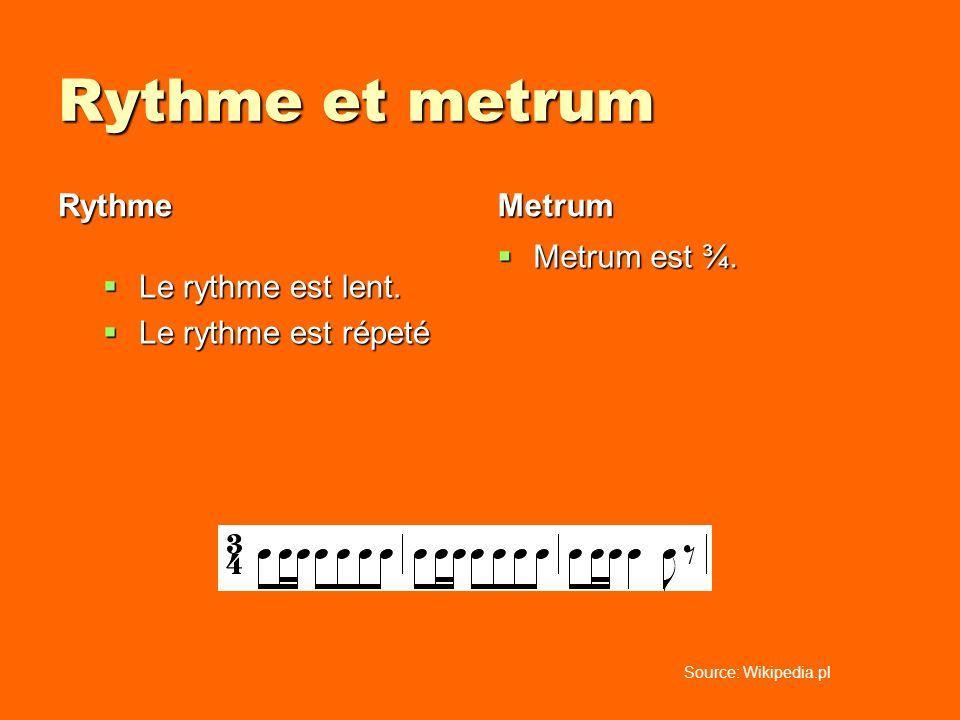 Rythme et metrum Rythme Le rythme est lent. Le rythme est lent. Le rythme est répeté Le rythme est répeté Metrum Metrum est ¾. Metrum est ¾. Source: W
