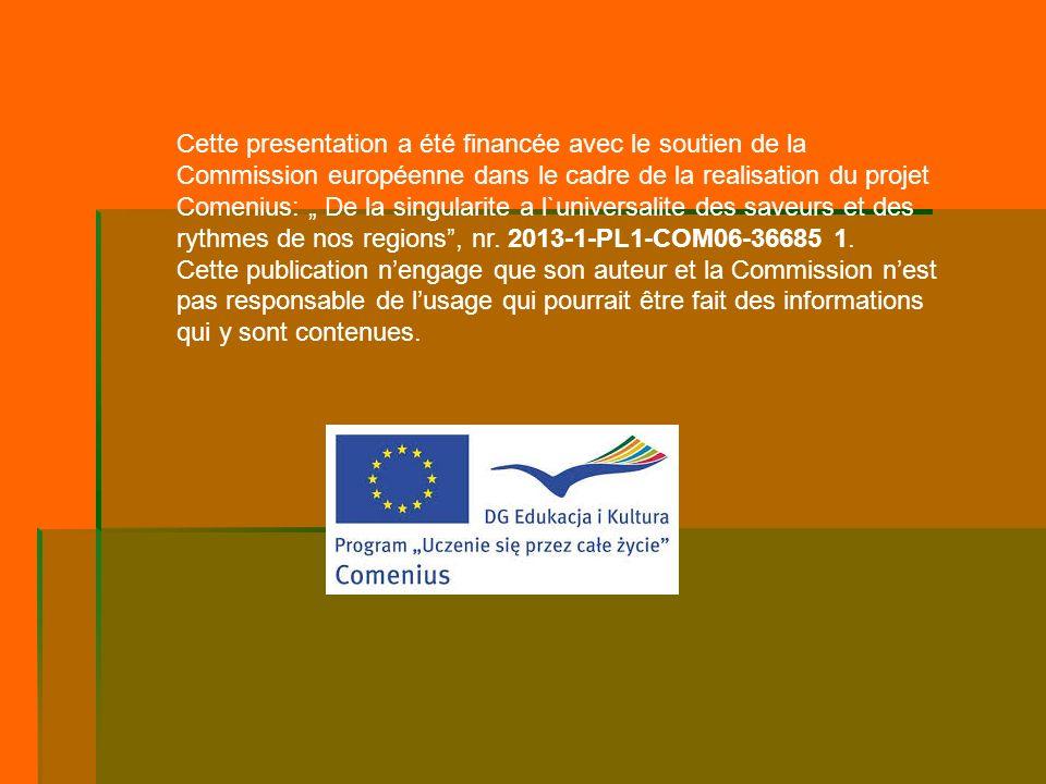 Cette presentation a été financée avec le soutien de la Commission européenne dans le cadre de la realisation du projet Comenius: De la singularite a