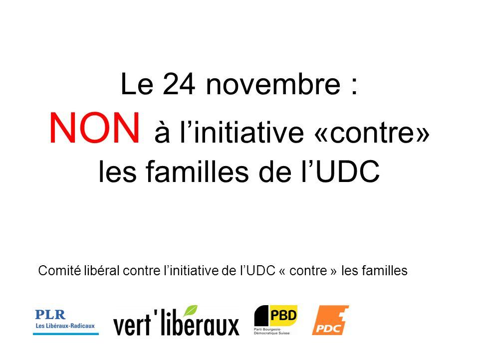 Le 24 novembre : NON à linitiative «contre» les familles de lUDC Comité libéral contre linitiative de lUDC « contre » les familles